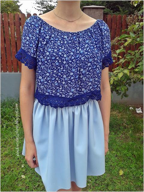 Chabrowa hiszpanka z Tally Weijl, jasnoniebieska spódniczka, srebrny naszyjnik