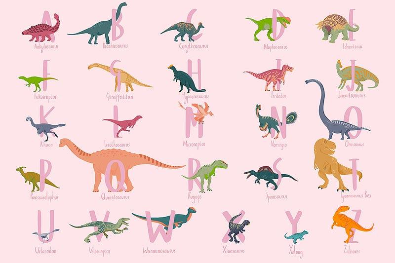 carta da parati dinosauri rosa