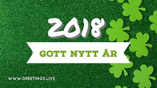 Green greetings 2018New Year in Swedish