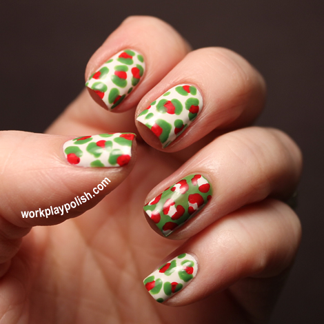 Christmas Leopard: OPI Alpine Snow, Red and Green-wich Village (work / play / polish)