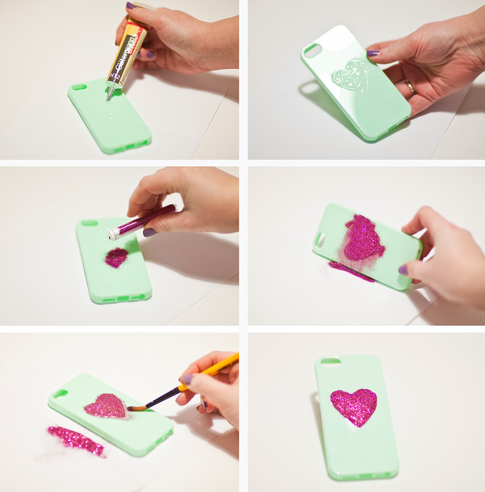 brand new 09434 03246 Live it . Love it . Make it.: Make it: Glitter Heart DIY Phone Case