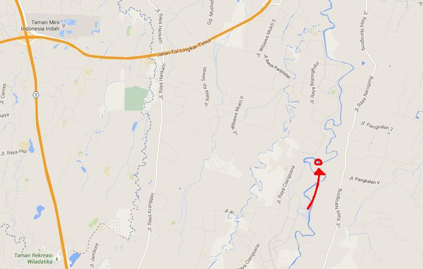 GPS dan Google map ke Wisata Alam Air Terjun Curug Parigi Bantargebang, Bekasi AKA Niagara Mini