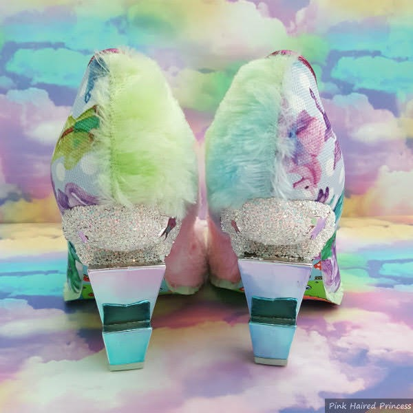 blue ombre lightning bolt heels with glitter cloud on shoes