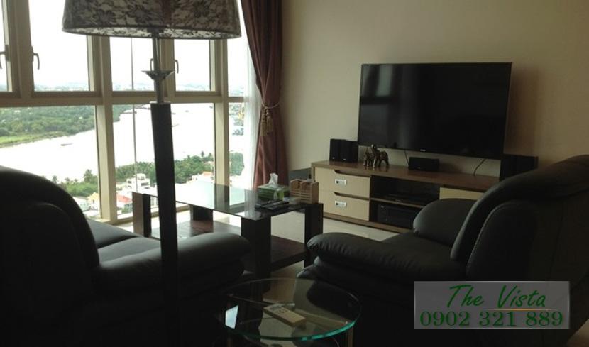 cho thuê căn hộ quận 2 - The Vista tivi phòng khách