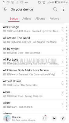Tampilan All Songs