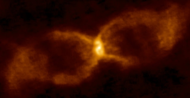 ALMA image of CK Vulpeculae. New research indicates that this hourglass-like object is the result of the collision of a brown dwarf and a white dwarf. Credit: ALMA (ESO/NAOJ/NRAO)/S. P. S. Eyres