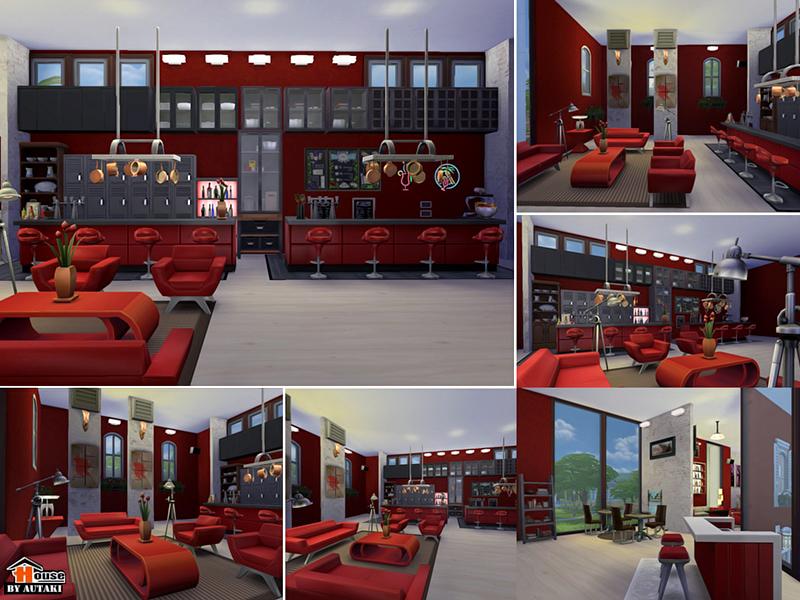 Red Amp White Restaurant Bar Sims 4 Houses