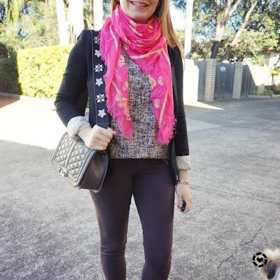 awayfromtheblue instagram  jersey blazer skinny jeans neon alexander mcqueen skull scarf