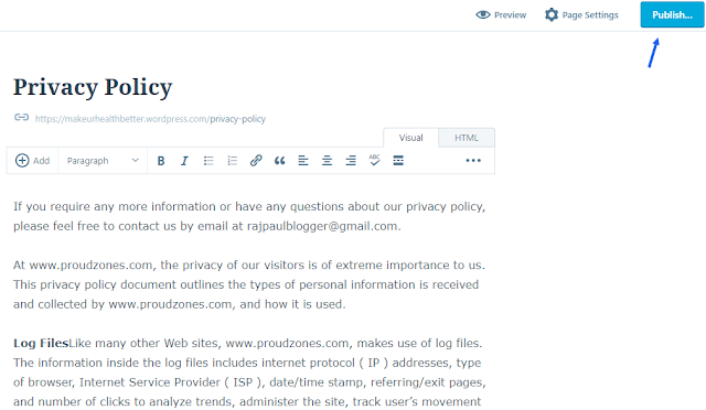 add privacy policy to blogger wordpress