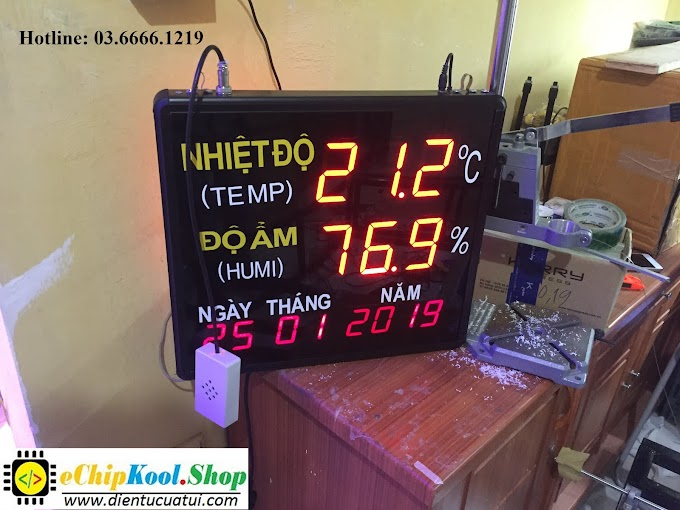 Đồng hồ treo tường Nhiệt độ - Độ ẩm - Ngày Tháng Năm - 2019