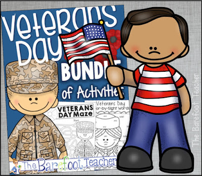 These Veterans Day resources and activities are a perfect addition to go along with the other ideas, crafts, and games you have planned for your Preschool, Kindergarten, or First Grade kids. Build a differentiated reader, a FREE printable, book suggestions, math, literacy, and more! #veteransday #holidays #freeprintable #freebie #kindergarten #math #literacy