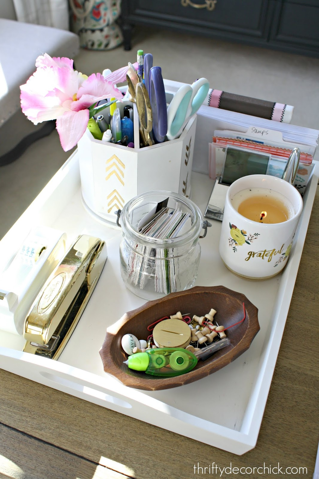 Tray on desk for often needed items