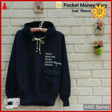 AND270 Sweater Wanita Pocket Money Biru Navy BMGShop