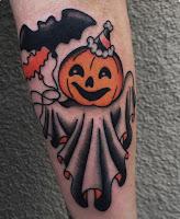 tatuaje para halloween calabaza murcielago