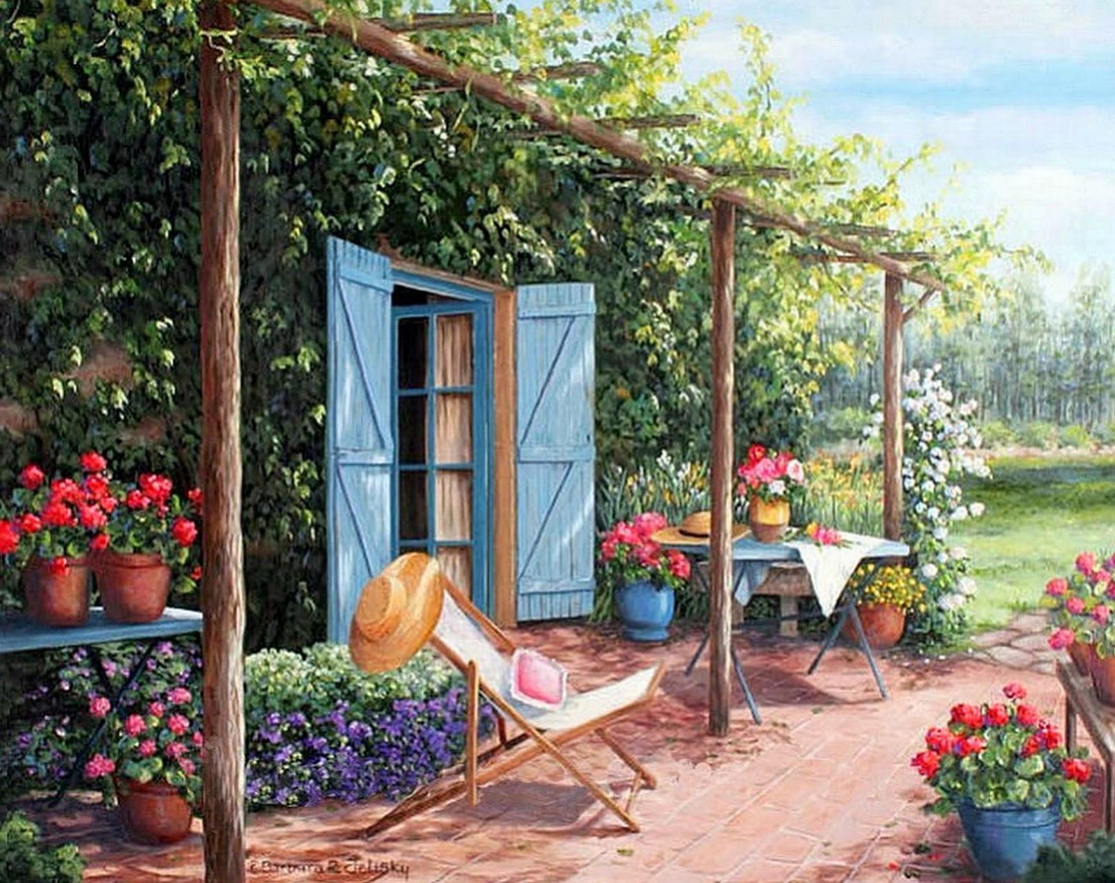 Cuadros modernos pinturas y dibujos cuadros de casas con for Patios con jardines bonitos
