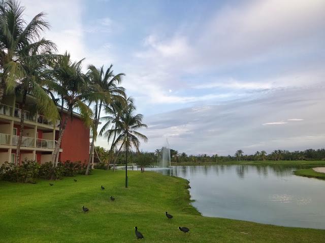 Vista das varandas dos quartos e da lagoa do hotel.