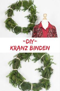 DIY Adventsdeko - selbstgebundener Kranz aus Zweigen und Bastschnur - weihnachtliche Deko