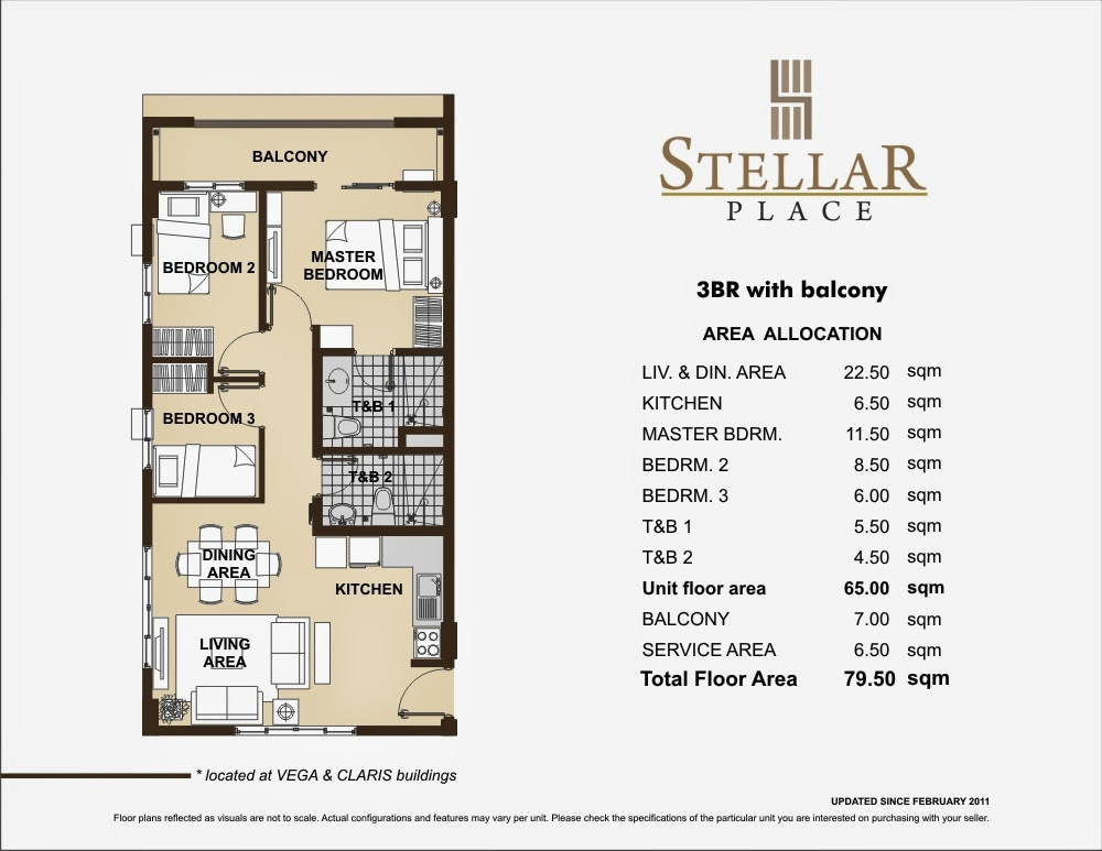 Stellar Place 3-Bedroom Unit 79.50 sqm