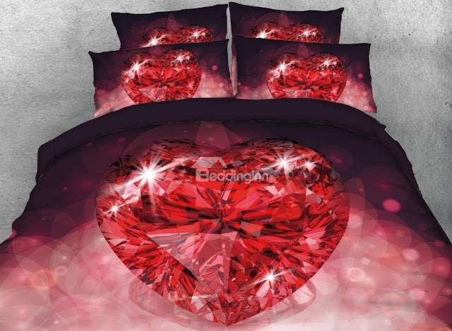 Beddinginn-Onlwe 3D Red Heart Shape Diamond Printed 4-Piece Bedding