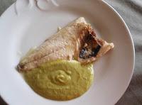 dorada con salsa de queso fresco y calabacines