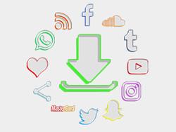 White Color Drop Social Buttons