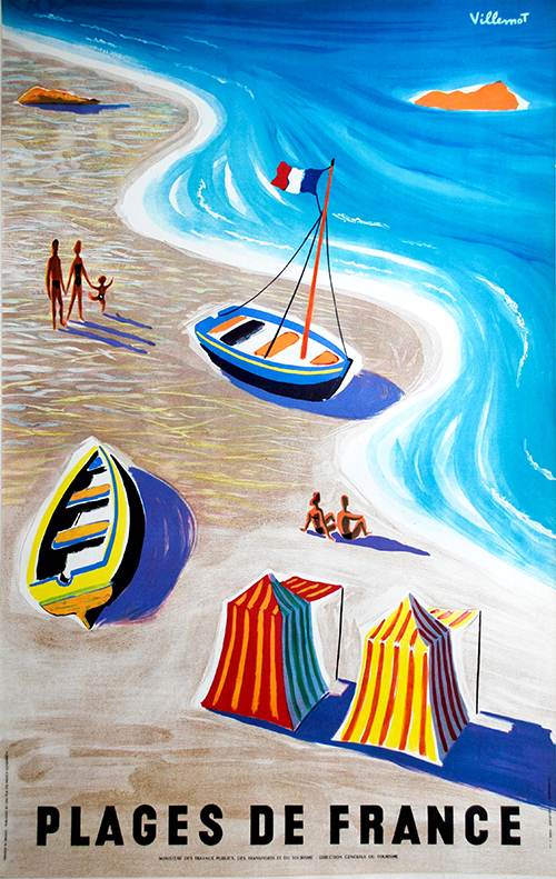 Beaches of France, Plages de France by Bernard Villemot - Vintage Travel Poster French, advertising, classic posters, free download, free posters, free printable, french poster, graphic design, printables, retro prints, vintage, vintage posters, vintage printables, travel, travel posters