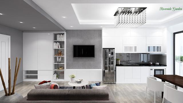 Phòng khách căn 49m2 dự án Riverside