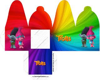 Caja para cupcakes, chocoltes o golosinas de Trolls.