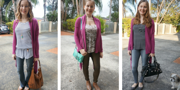 Purple cardigan with printed tanks 3 outfit ideas | awayfromblue
