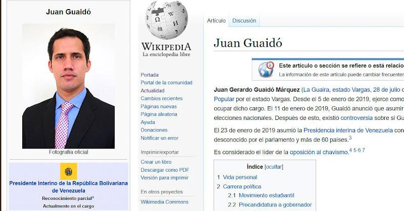 Wikipedia vuelve a mostrar definitivamente a Juan Guaidó como Presidente de Venezuela