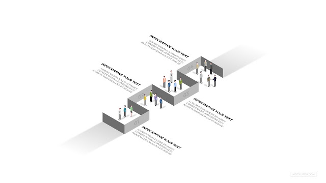 Free Isometric Human Vectors with Infographic Process Diagram slide