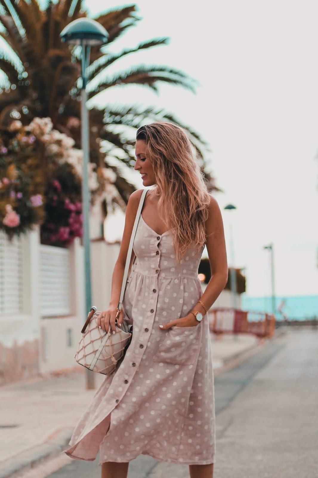 vestido lino lunares
