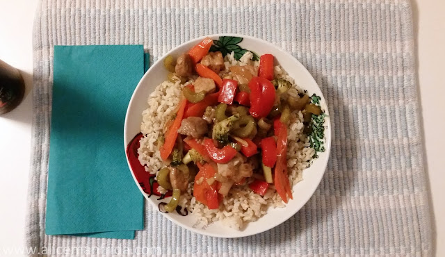 pork stir-fry, dinner, supper, what i ate, healthy, rice, food,