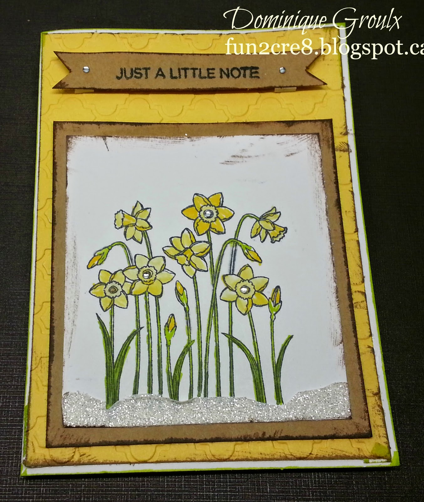 Yellow daffodil card with CTMH A Little Note A1171