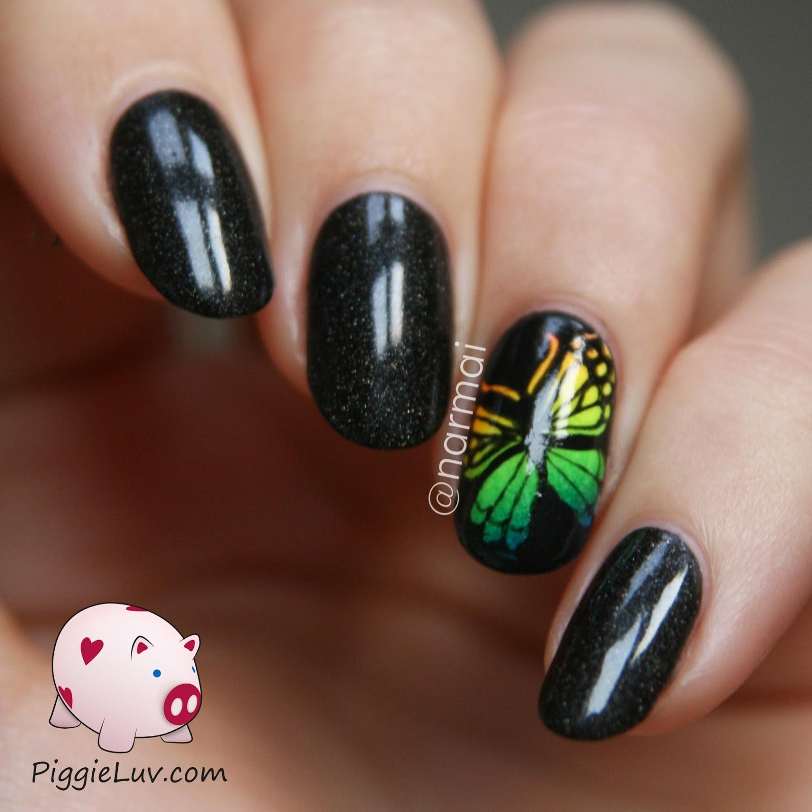 Piggieluv Rainbow Bubbles Nail Art: PiggieLuv: Rainbow Butterfly Accent Nail + Video Tutorial