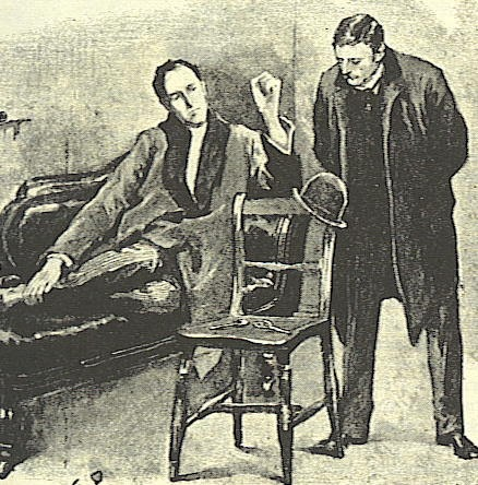 Sidney Paget's illustration of Sherlock Holmes and Dr John Watson deducing from Henry Baker's hat in The Adventure of the Blue Carbuncle