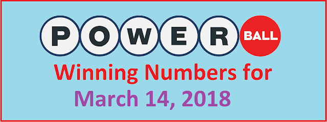 PowerBall Winning Numbers for Wednesday, 14 March 2018