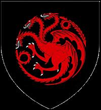 Escudo Targaryen: dragón rojo sobre fondo negro