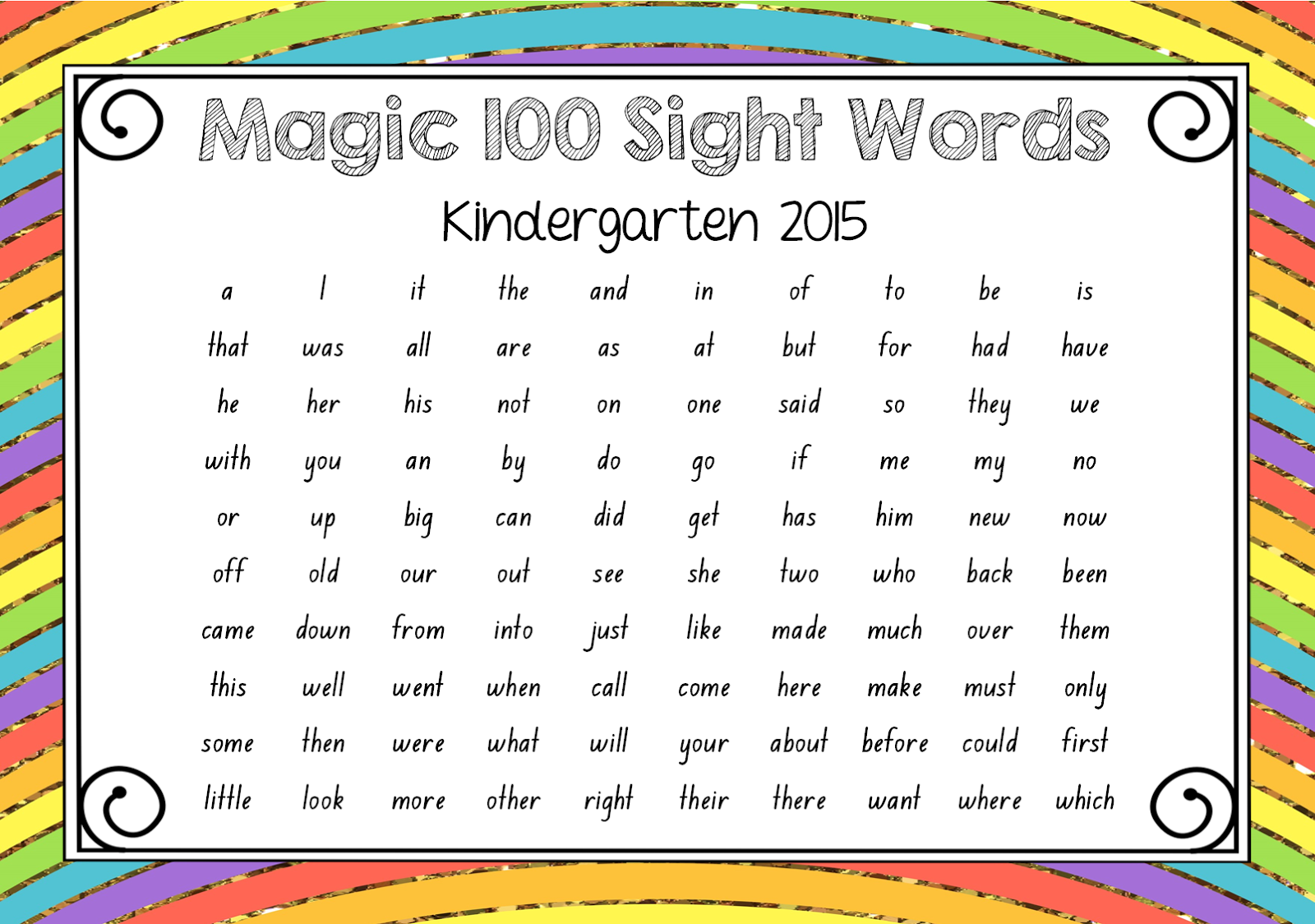 100 Sight Words Kindergarten