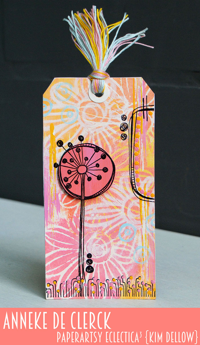 New PaperArtsy Eclectica³ {Kim Dellow} Products Showcase: Anneke De Clerck Warm colours tag