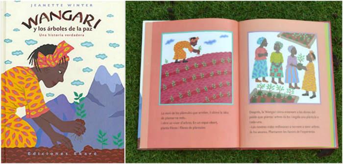 cuentos libro infantiles respetar cuidar medio ambiente  wangari y los arboles de la paz