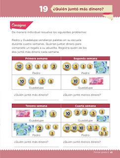 Apoyo Primaria Desafíos matemáticos 1er grado Bimestre 2 lección 19 ¿Quién junto más dinero?