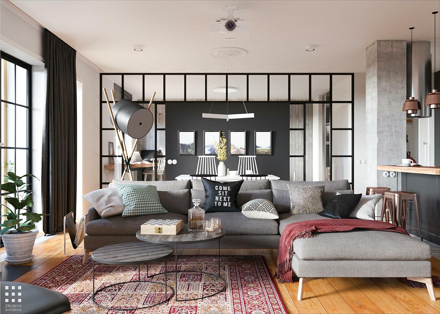 Uși verzi, bucătărie neagră și accente gri într-un proiect de amenajare pentru un apartament de 96 m²