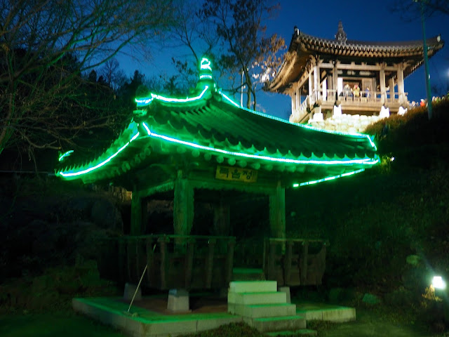 Temple pavilion with lights for the Light Festival at Boseong Green Tea Plantation, South Korea