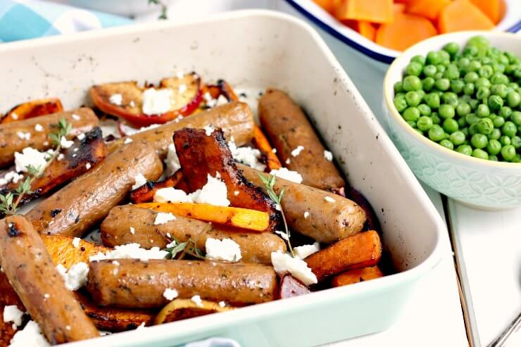 Sticky Quorn Sausage and Butternut Squash Tray Bake