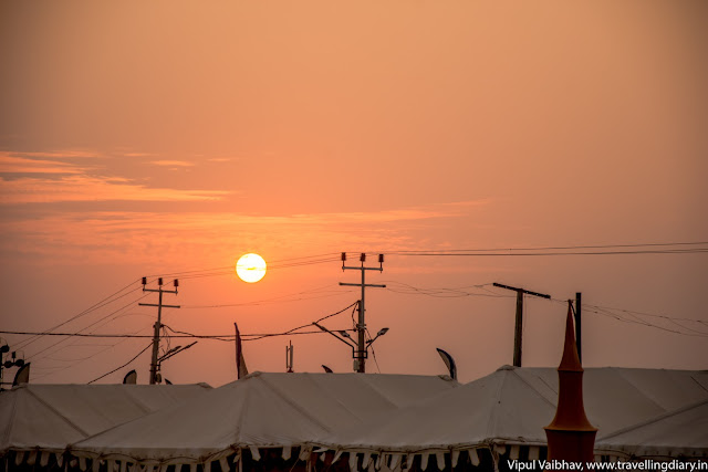 sunrise over tents in tent city
