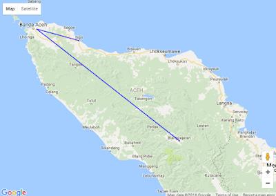 Tampilan Polyline pada Google Map