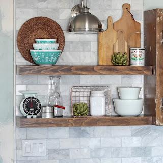 Kitchen Open Shelving Over A Tile Backsplash