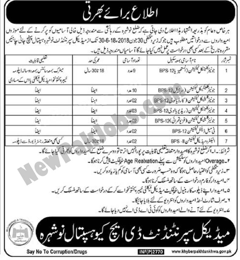 Fresh Govt Jobs for Matric Level in DHQ Hospital Nowshera