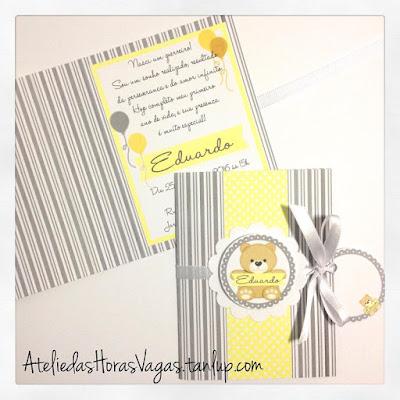 convite de aniversário infantil personalizado artesanal ursinho cinza amarelo bebê 1 aninho menino
